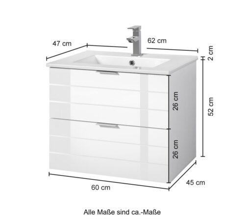 Bad Waschtisch Luzern weiß Breite 60cm B21633535 UVP 249,99€   21633535 6
