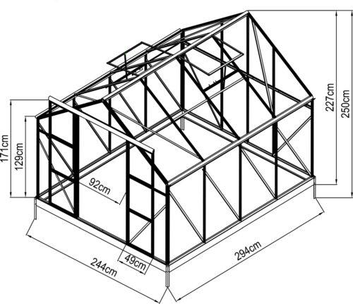 KONIFERA Gewächshaus Asti2900 BxTxH:244x294x215cm 6mm Wandstärke B22952115 UVP 749,99€ | 22952115 11