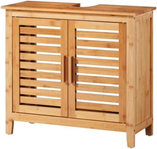 welltime Waschbeckenunterschrank Bambus Badmöbel mit Siphonausschnitt Breite 67cm B25220522 UVP 99,99€ | 25220522 1