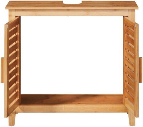 welltime Waschbeckenunterschrank Bambus Badmöbel mit Siphonausschnitt Breite 67cm B25220522 UVP 99,99€ | 25220522 2