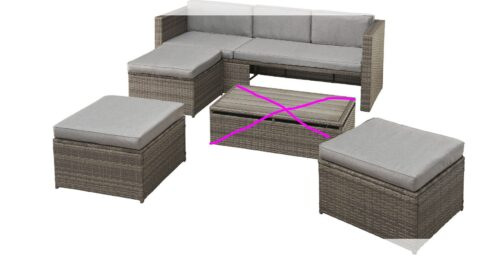 KONIFERA Loungeset Lagos Premium 3er-Sofa 3 Hocker B28364946 ohne Tisch | 28364946 0 0