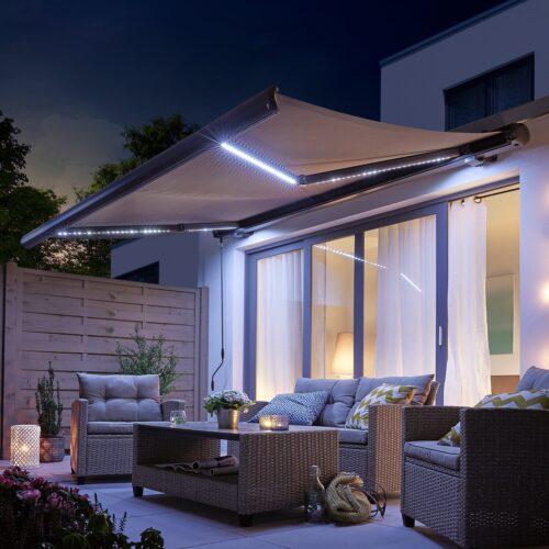 KONIFERA Kassettenmarkise LED Light Breite:395cm Ausfall: 300cm mit LED-Beleuchtung B30118035 UVP 849,99€   30118035 1