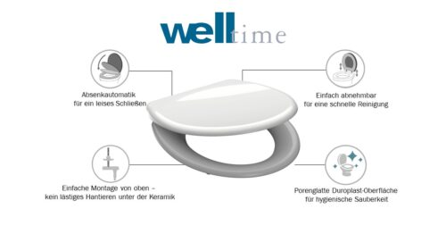 welltime WC-Sitz Premium hochwertiger abnehmbarer Toilettendeckel Absenkautomatik B32062959 ehemalige UVP 49,99€ | 32062959 6