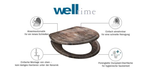 welltime WC-Sitz Used Wood mit Absenkautomatik abnehmbar B42406729 ehemalige UVP 49,99€ | 42406729 6