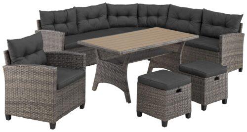 KONIFERA Loungeset Keros Premium Ecklounge 2 Hocker Sessel Tisch 145x75cm Polyrattan B46059830 UVP 799,99€ | 46059830 1 1
