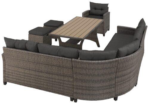 KONIFERA Loungeset Keros Premium Ecklounge 2 Hocker Sessel Tisch 145x75cm Polyrattan B46059830 UVP 799,99€ | 46059830 2 1