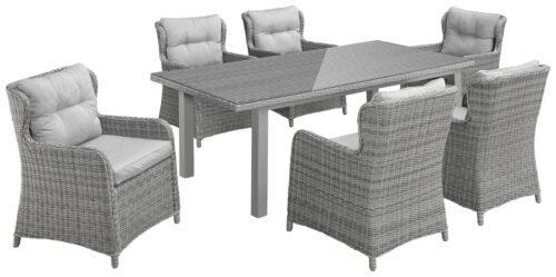 KONIFERA Gartenmöbelset Miami (19-St) 6 Sessel Tisch 17x9cm Polyrattan B49840366 UVP 1099,99€ | 49840366 1 1