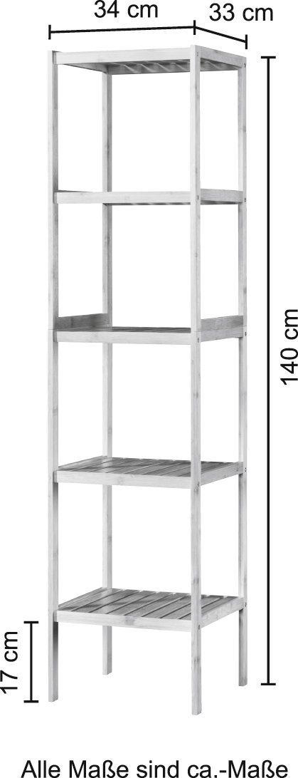 welltime Badregal Bambus Breite 34cm 5 Ablagen B60741005 UVP 79,99€   60741005 4