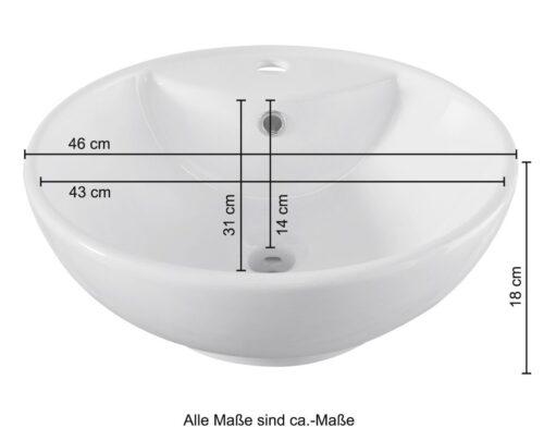 welltime Aufsatzwaschbecken Milano mit Überlauf rund Breite 46cm B61543338 ehemalige UVP 74,99€ | 61543338 3