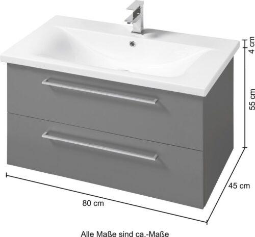 SCHILDMEYER Waschplatz-Set Torino Waschtisch Breite 80cm 2-tlg. B68795750 UVP 659,99€ | 68795750 7