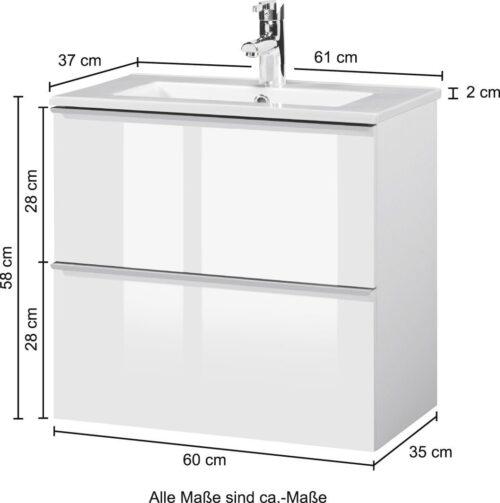 Waschtisch Malaga 600 Breite60cm Tiefe 36cm SlimLine B70308058 ehemalige UVP 499,99€ | 70308058 5