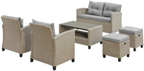KONIFERA Loungeset Lorca 2er Sofa 2 Sessel Tisch 90x55cm 2 Hocker inkl. Auflagen B73765359 ehemalige UVP 499,99€ | 73765359 2