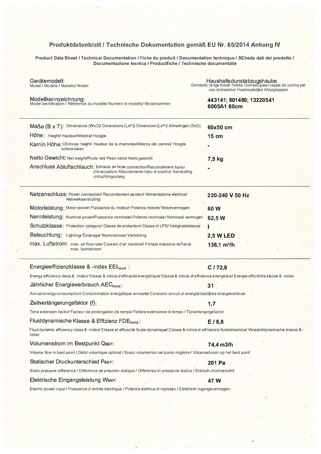 Unterbauhaube 60cm Breite Leistung bis zu 194 m³/h B801480 ehemalig UVP 69,99€   801480 3 pdf