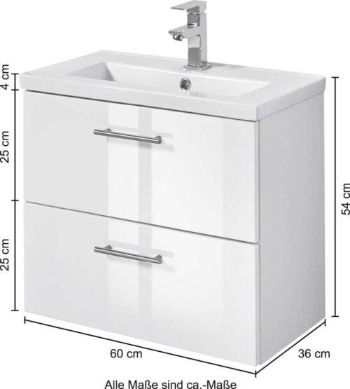 welltime Waschtisch Trento Breite 60cm Tiefe 36cm SlimLine Badmöbel B82326160 ehemalige UVP 299,99€ | 82326160 5