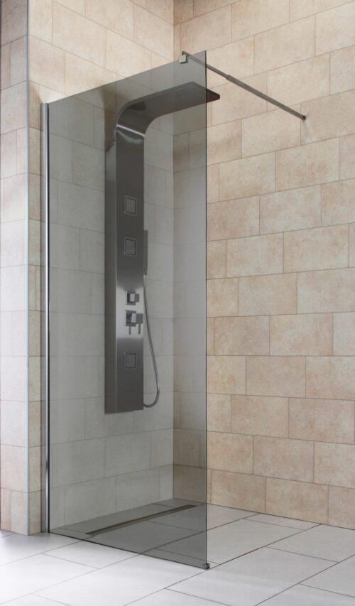 welltime Duschwand Duschabtrennung Sicherheitsglas Breite 90cm Grauglas B87440705 UVP 269,99€ | 87440705 2