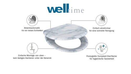 welltime WC-Sitz Marble mit Absenkautomatik abnehmbar B90041751 ehemalige UVP 49,99€ | 90041751 6