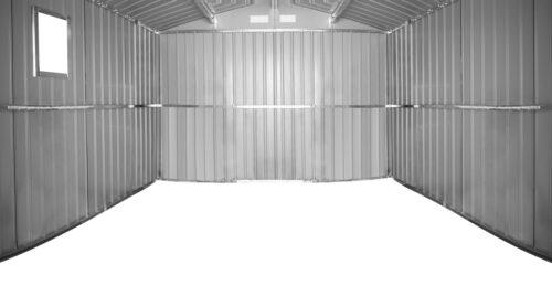 KONIFERA Set: Stahlgerätehaus Archer Plus D BxTxH: 267x255x212cm Bodenrahmen B93074360 UVP 419,99€ | 93074360 3