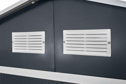 KONIFERA Set: Stahlgerätehaus Archer Plus D BxTxH: 267x255x212cm Bodenrahmen B93074360 UVP 419,99€ | 93074360 6