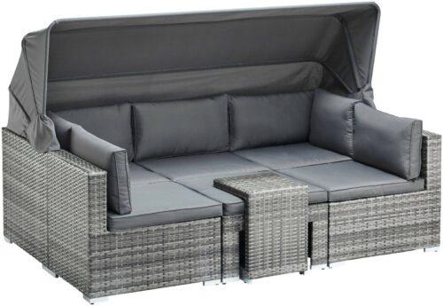 KONIFERA Loungebett Atlanta Polyrattan grau inkl.Auflagen B44325844 UVP 799,99€ | KONIFERA Loungebett AtlantaPolyrattangrauinklAuflagen B25607929 UVP 69900 233025465716 4