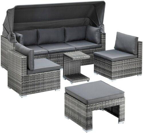 KONIFERA Loungebett Atlanta Polyrattan grau inkl.Auflagen B44325844 UVP 799,99€ | KONIFERA Loungebett AtlantaPolyrattangrauinklAuflagen B25607929 UVP 69900 233025465716 5