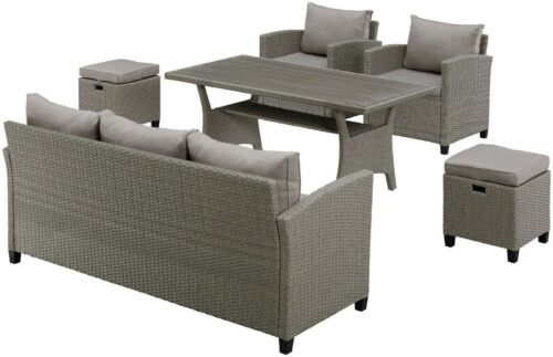 KONIFERA Loungeset Amsterdam 3er Sofa 2 Sessel 2 Hocker Tisch 144,5x74cm Auflagen B92602220 UVP 699,99€ | KONIFERA Loungeset Amsterdam Polyrattan B92602220 UVP 59999 333333600569 3