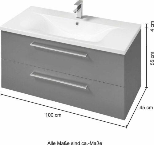 WELLTIME Waschplatz-Set Torino Waschtisch B100 cm 2-tlg. B49792420 UVP 699,99 € | WELLTIME Waschplatz Set Torino Waschtisch B100 cm 2 tlg B49792420 UVP 69999 333611126657 5